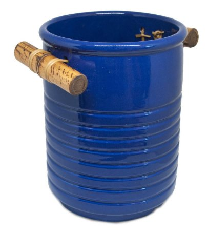 Pote cerâmica azul para colher de pau