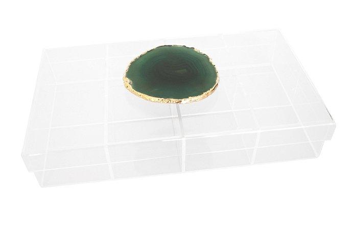 Caixa de acrílico com divisórias ágata verde