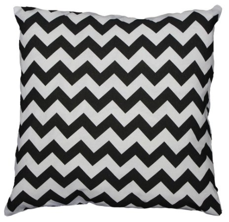Capa de Almofada geométrica zigue zague preta e branca