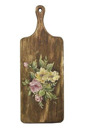 Tábua madeira pintura flores