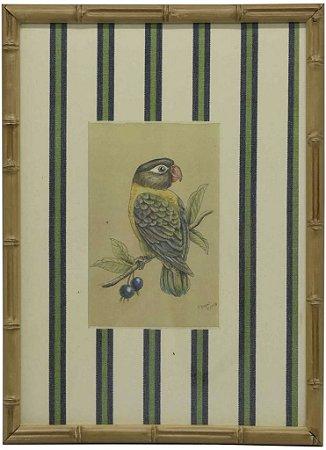 Quadro moldura bambu pássaro 1
