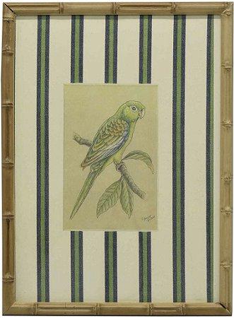Quadro moldura bambu pássaro 3