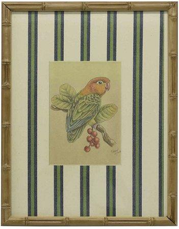 Quadro moldura bambu pássaro 4