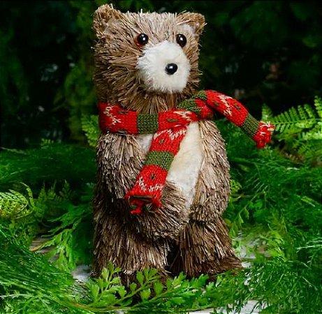 Ursinho de Natal com cachecol vermelho e verde