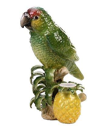 Papagaio no tronco com vasinho de abacaxi em cerâmica Zanatta Casa