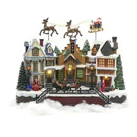 Vila com Renas e Papai Noel Voador