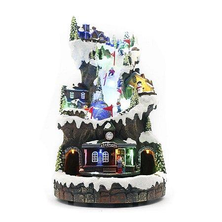 Vila de natal vertical com trem