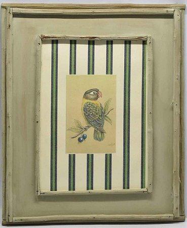 Quadro de pássaro com moldura de galhos 3