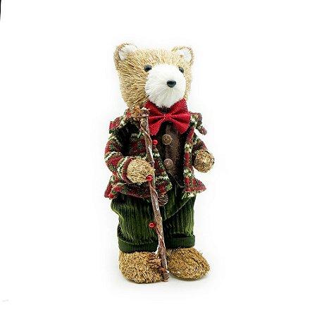 Ursinho de natal com roupa de veludo
