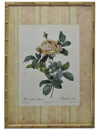 Quadro gravura de rosas com moldura de faux bambu 1