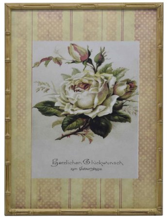 Quadro gravura de rosas com moldura de faux bambu 2