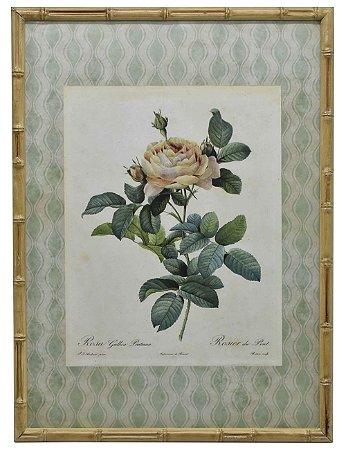 Quadro gravura de rosas com moldura de faux bambu 3