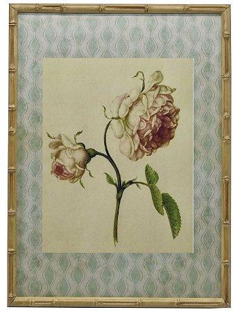 Quadro gravura de rosas com moldura de faux bambu 6
