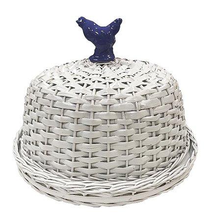 Boleira vime branca com passarinho cerâmica azul Zanatta Casa