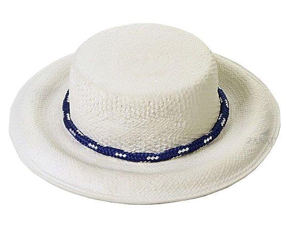 Chapéu com aba com corda azul e detalhes branco Zanatta Casa