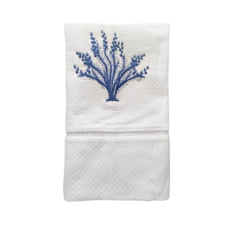 Toalha Lavabo Coral bordado Azul