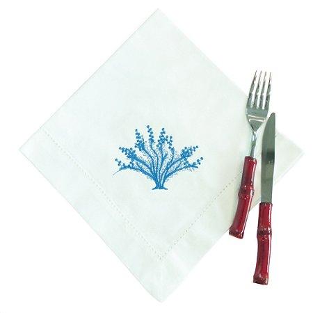 Guardanapo Coral Azul Bordado (cj com 4)