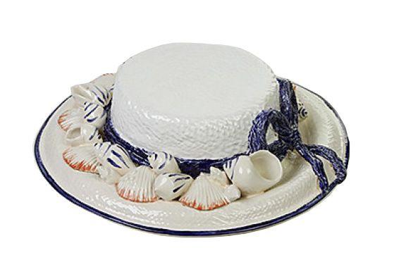 Chapéu de conchas com laço de cerâmica azul Zanatta Casa