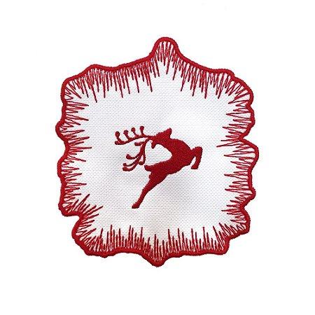 Porta copos bordado rena Natal (set com 6)