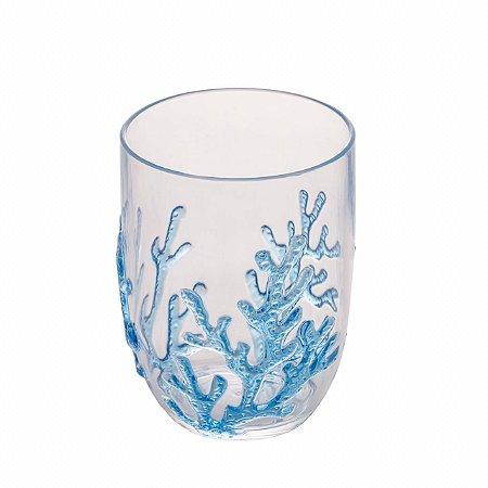 Copo baixo acrílico coral azul (cj com 6)