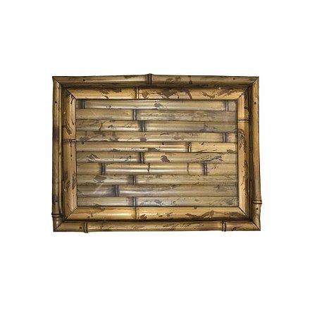 Bandeja de bambu com vidro P Luli