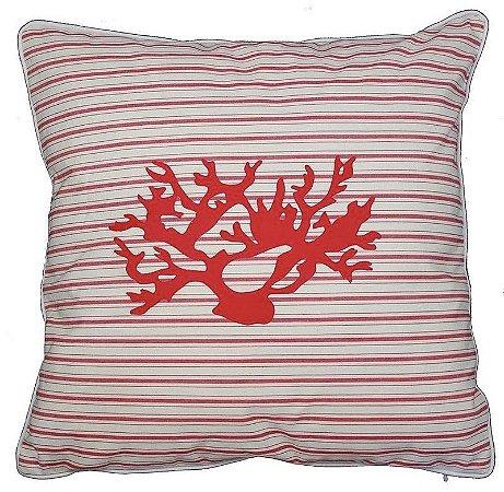 Capa de Almofada Coral Vermelha Listras Vermelhas