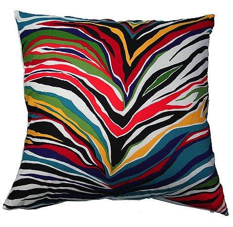 Capa de Almofada Zebra Colorida