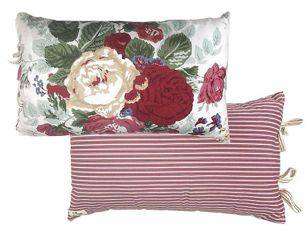 Almofada rim floral verso listras vermelhas Zanatta Casa (17 x 45 cm)