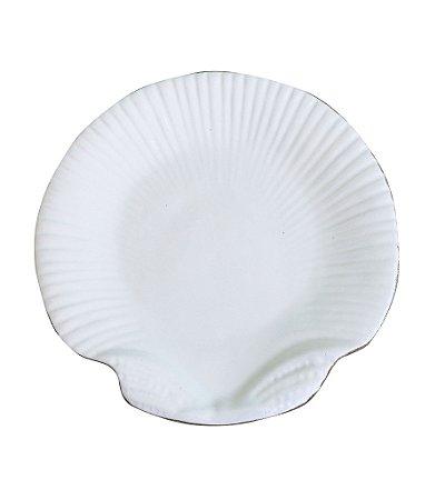 Prato sobremesa Shell branco