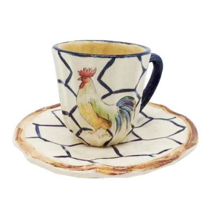 Xícara café galo com tela azul Zanatta Casa