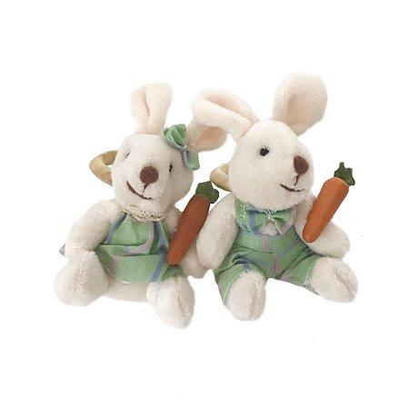 Porta guardanapo casal de coelhos verde água xadrez