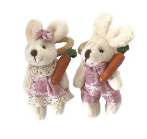 Porta guardanapo casal coelhos rosè