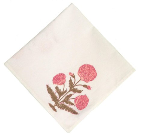 Guardanapo indiano flor rosa e marrom (jogo 4)