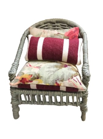 Mini cadeira decorativa em junco celadon
