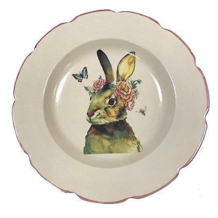 Prato Raso coelha com borboleta  Friso rosa