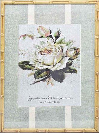 Quadro gravura de rosas com moldura de faux bamboo fundo listra 1