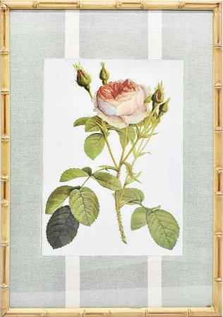 Quadro gravura de rosas com moldura de faux bamboo fundo listra 3