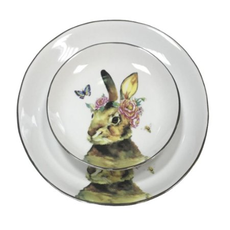 Prato raso e de sobremesa Coelha com Borboleta Friso prata