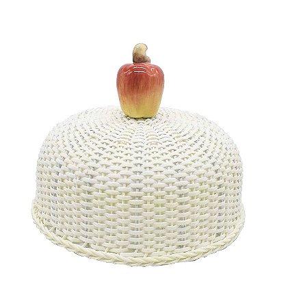 Cobre bolo junco branco e caju de cerâmica Zanatta Casa