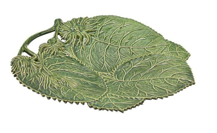 Travessa com relevo de folhas e flores com alça verde croco