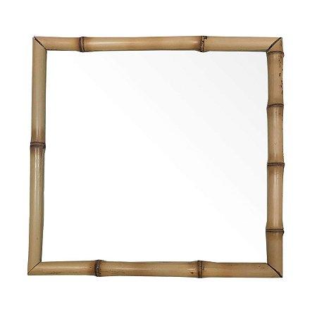 Bandeja bambu e vidro quadrada 26 x 26 cm