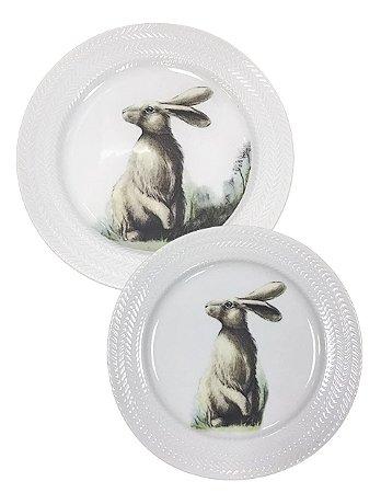 Duo prato raso e sobremesa coelho (jogo 4 pessoas)
