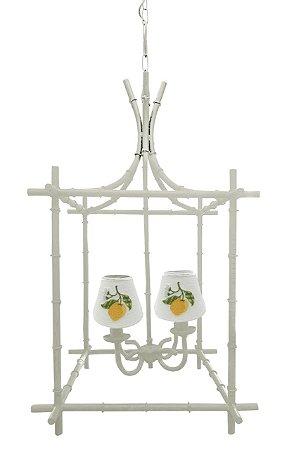 Lustre gaiola off white com cúpulas bordadas limão siciliano