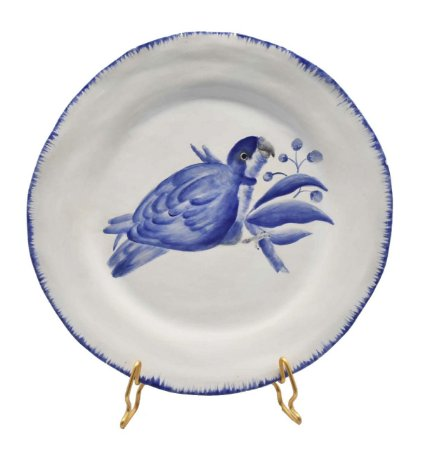 Prato sobremesa amassado azul e branco borda pincelada com pássaro 1