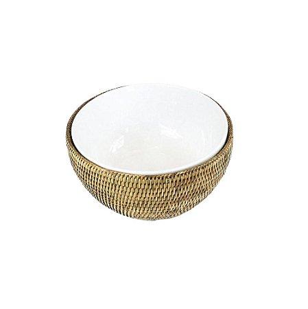 Bowl porcelana e rattan G
