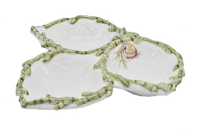 Petisqueira 3 folhas com aplicação e desenho coral