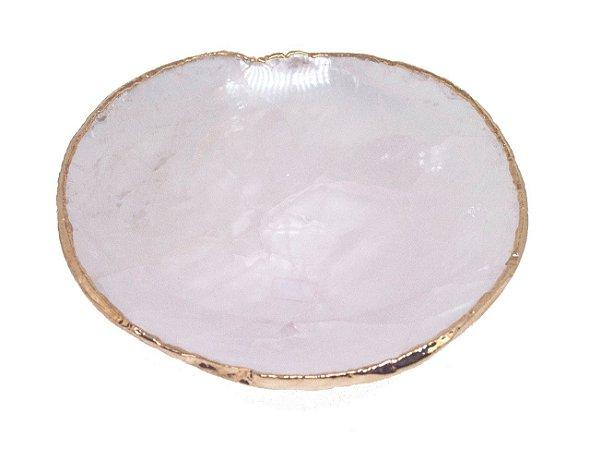 Bowl quartzo rosa com ouro