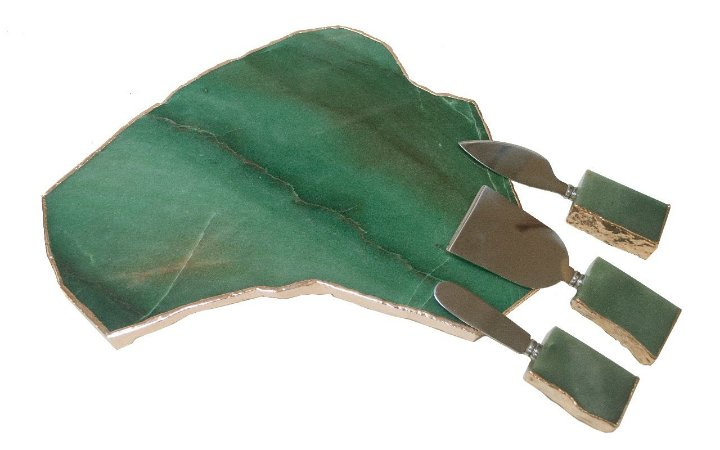 Tabua de quatzo verde com espátulas