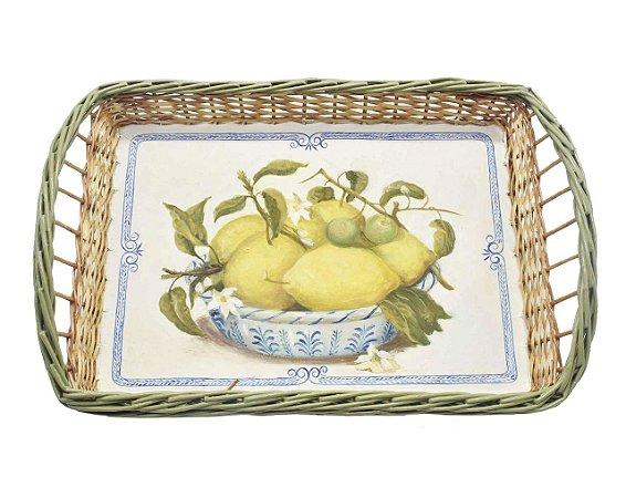 Bandeja retangular M de vime desenho limão