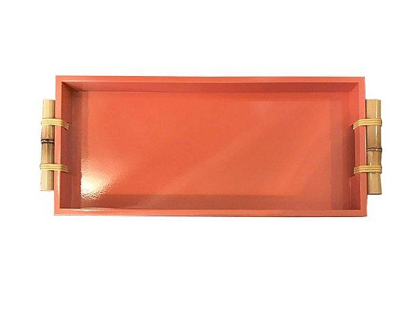 Bandeja laca laranja alça bambu retangular